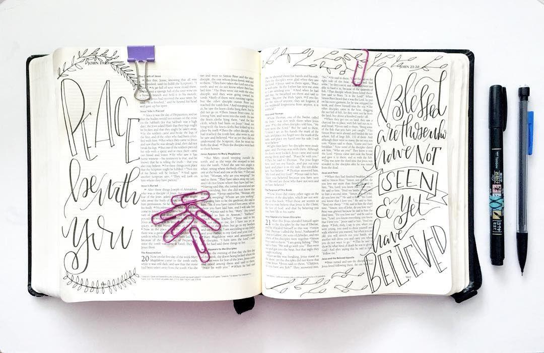 | John 20.29 |   I haven't done a bible journaling post in a bit so what better time than Easter weekend! Have a peaceful weekend friends.  #biblejournaling #biblejournalingcommunity #easter #shepaintstruth #illustratedfaith #christiancreative #handlettering #handlettered #handwriting # #typedesign #lettered #calligraphy #calligratype #handtype #calligraphy #moderncalligraphy #type #showusyourtype #handdrawntype #typedaily #typespire #goodtype  #brushcalligraphy #brushlettering #brushpens…