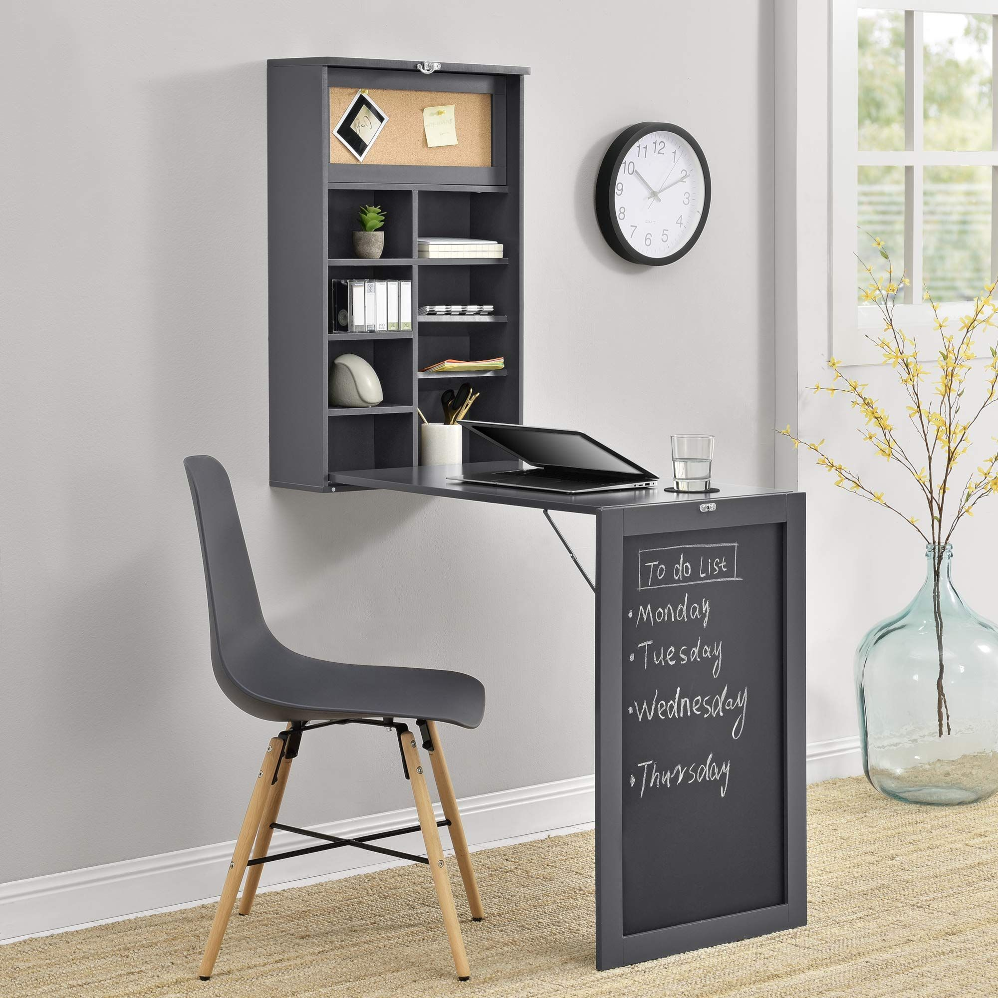 En Casa Klappschreibtisch Schreibtisch Zum Ausklappen Wandklapptisch Mit Tafel Und Pinnwand Dunkelgrau Amazo In 2020 Wandtisch Grauer Schreibtisch Klappschreibtisch