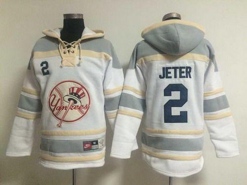buy online a3d9d c7a55 $38 Men's New York Yankees #2 Derek Jeter White Hoodie | My ...