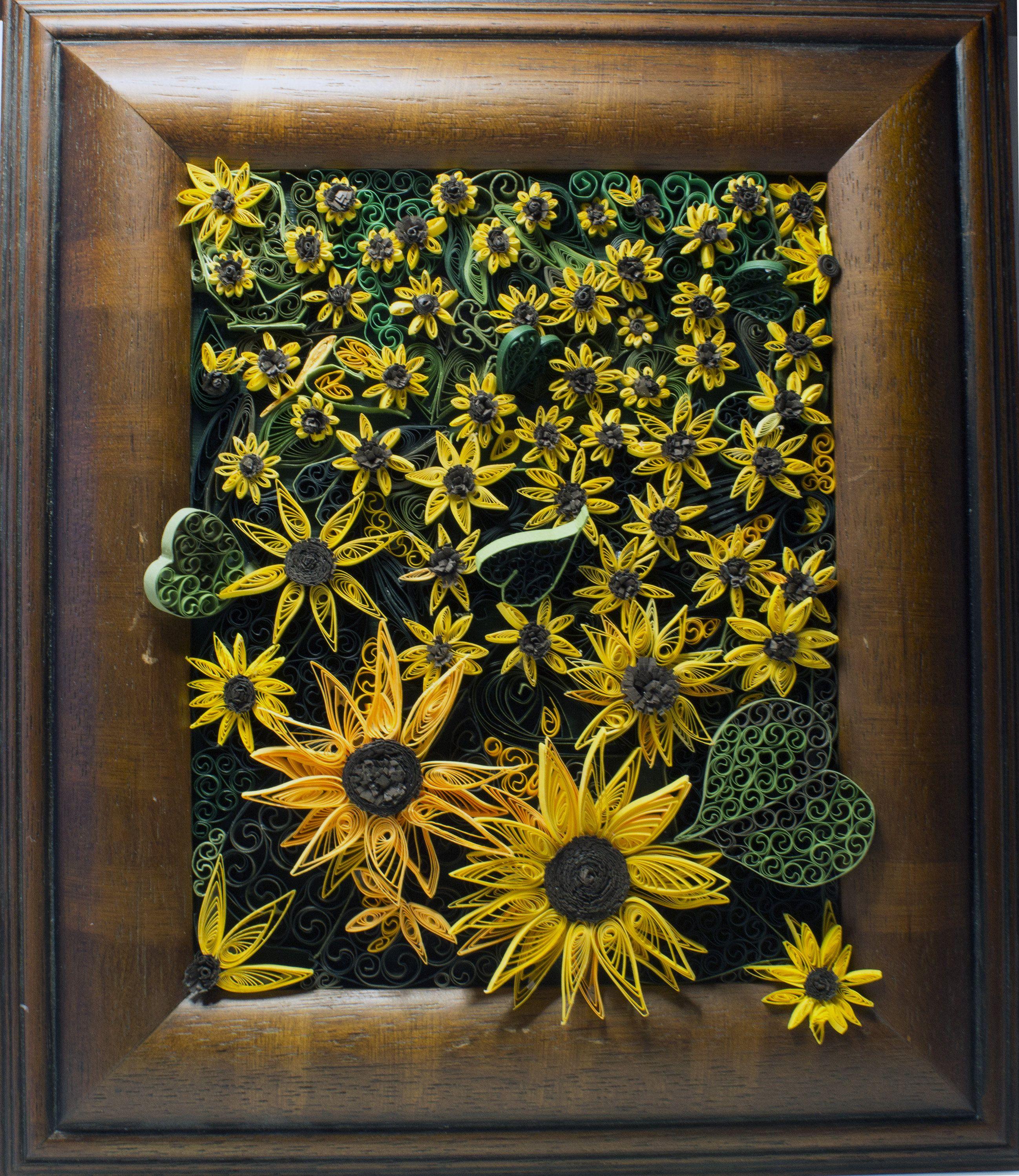 Sunflower d wall art colorful quilled sunflower art quilling