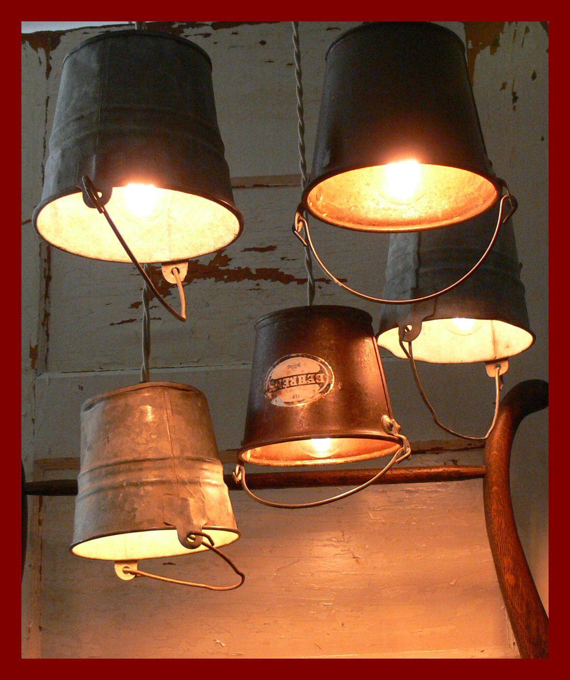 Rusty Little Bucket Hanging Lights!   eBay   Repurposing ...