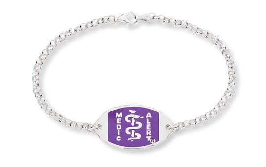 Sterling Silver Wisteria Belcher Bracelet - Small Emblem    Australia MedicAlert Foundation #medicalert #medical_ID #medical_bracelet #safety