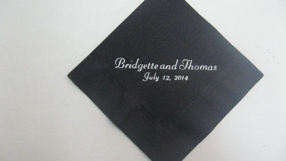 75 black beverage napkins personalized with your by JKimprints, $15.75