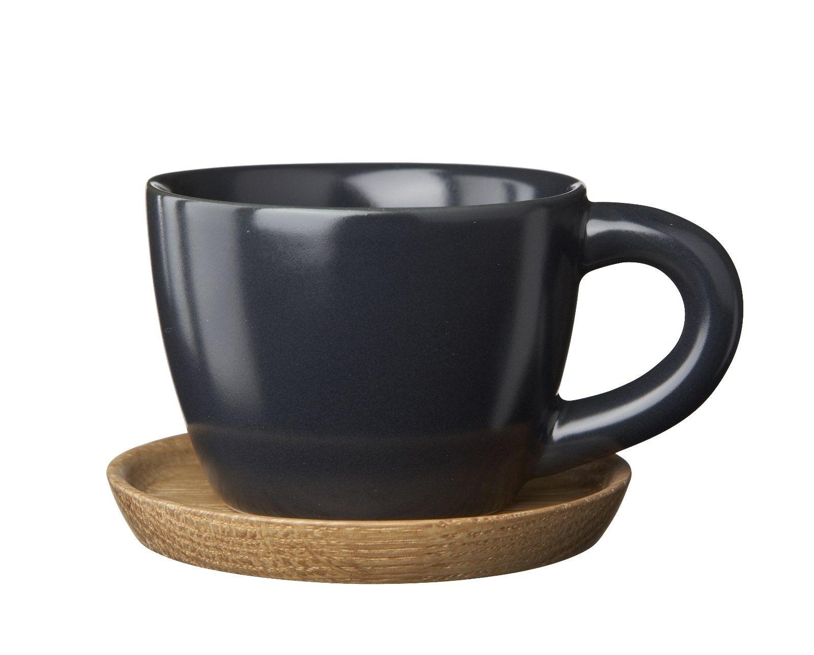 Osta HK Espressokuppi 10 cl, Grafiitinharmaa puualustalla - Rörstrand Kitchentimen verkkokaupasta