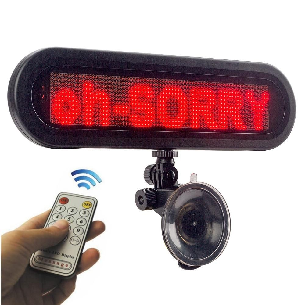 12 V Led Sign Programmable Taxi Red Car Scroll Text Ads Thank You Sorry Remote Controlrear Glass Rear Window Display Board Led Sign Board Car Led Led Signs