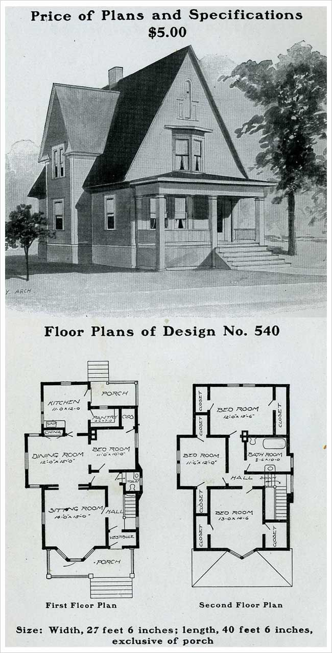 Radford 1903 Cross Gable Full Porch Victorian Gothic With Free Classic Queen Anne Victorian House Plans Gothic House House Plans