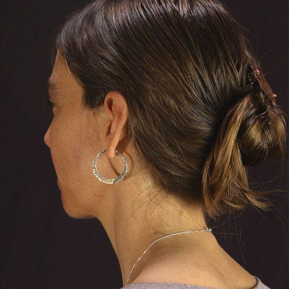 Small Silver Hoop Earrings // Hammered door MostlySweetJewelry