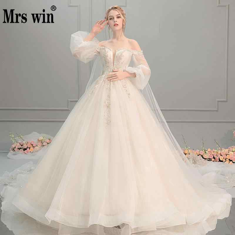 2020 Wedding Dress Mrs Win The Sweet Puff Sleeve Princess Lace Vestido De Noiva Luxury Robe De Mariee Off The Shoulder Dresses F Wedding Dresses Aliexpress In 2020 Bridal Dresses Wedding