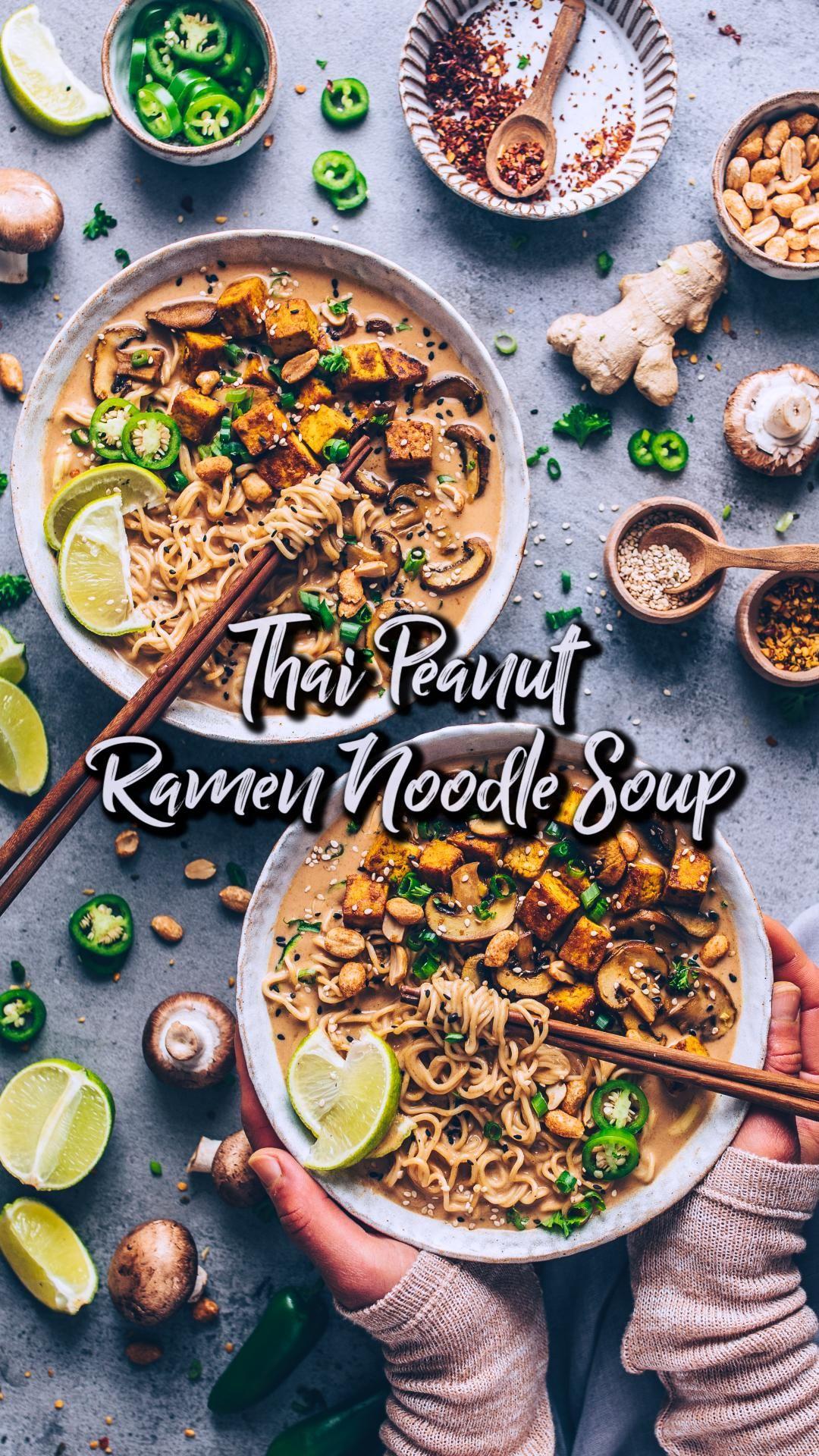 Thai Peanut Ramen Noodle Soup (Vegan