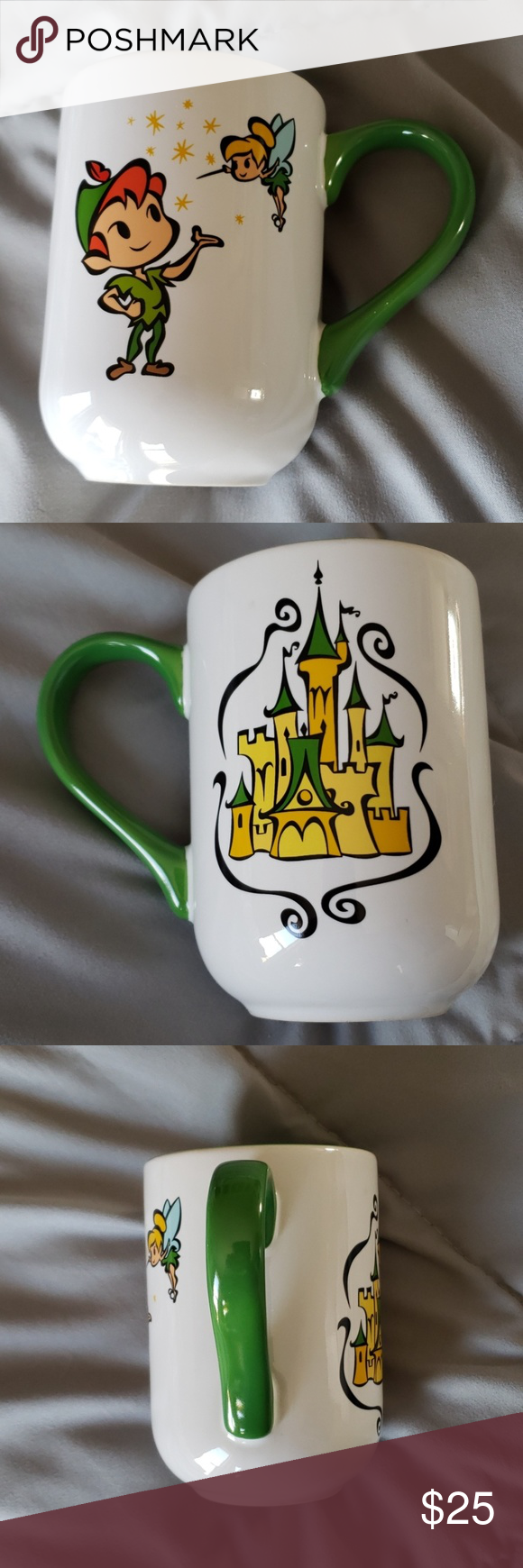 Tinkerbell & Peter Pan & Castle Mug Disney Parks Cup. No chips. There is a slight black mark which may be from the manufacturing process, see last picture. Please see the pictures for measurements and condition. Please contact me with any questions. Thank you for looking. Pet friendly home.  There is light reflection in the pictures. Disney Kitchen Coffee & Tea Accessories #disneykitchen Tinkerbell & Peter Pan & Castle Mug Disney Parks Cup. No chips. There is a slight black mark which may be fro #disneykitchen