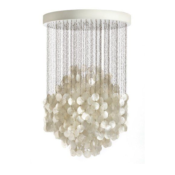 Charming Cascading Mother Of Pearl Chandelier. Shimmering Luxe.
