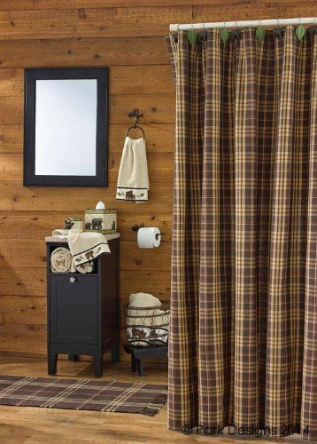 Rustic Retreat Shower Curtain Brown Rust Tan Cream Plaid Country Primitive Cabin Lodge Home Décor