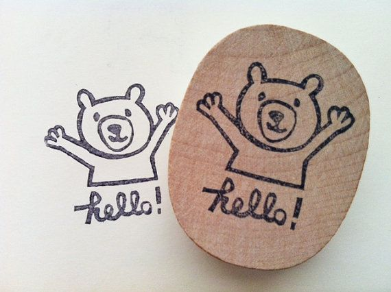 //teddy bear hand carved rubber stamp//