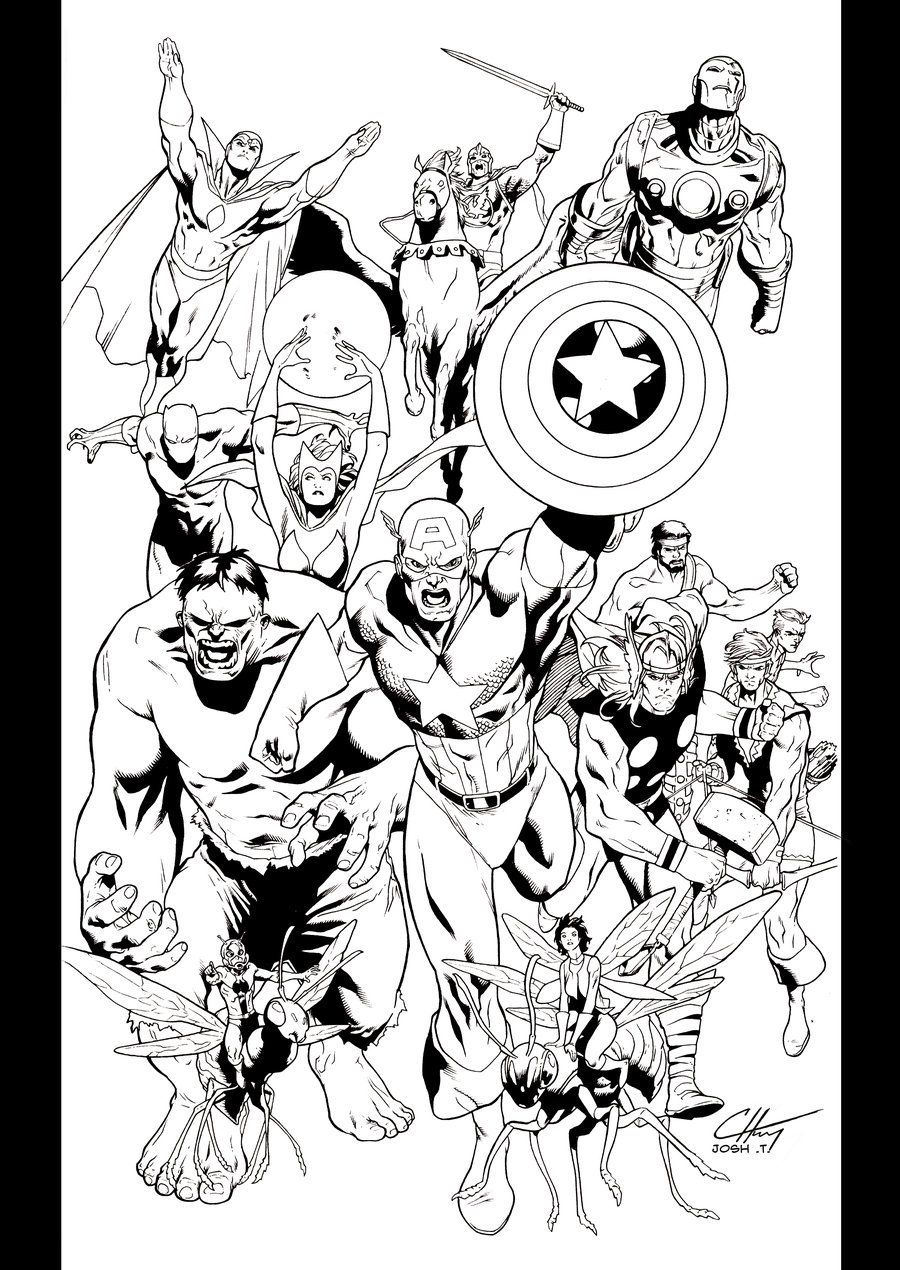 Avengers assemble by JoshTempleton on DeviantArt | Lineart: Avengers ...
