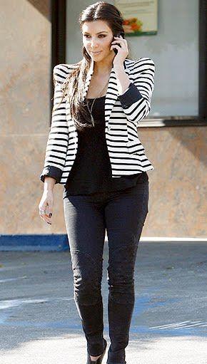 Audrey Stripe Blazer: Look #3 -- Kim Kardashian pairs a striped ...