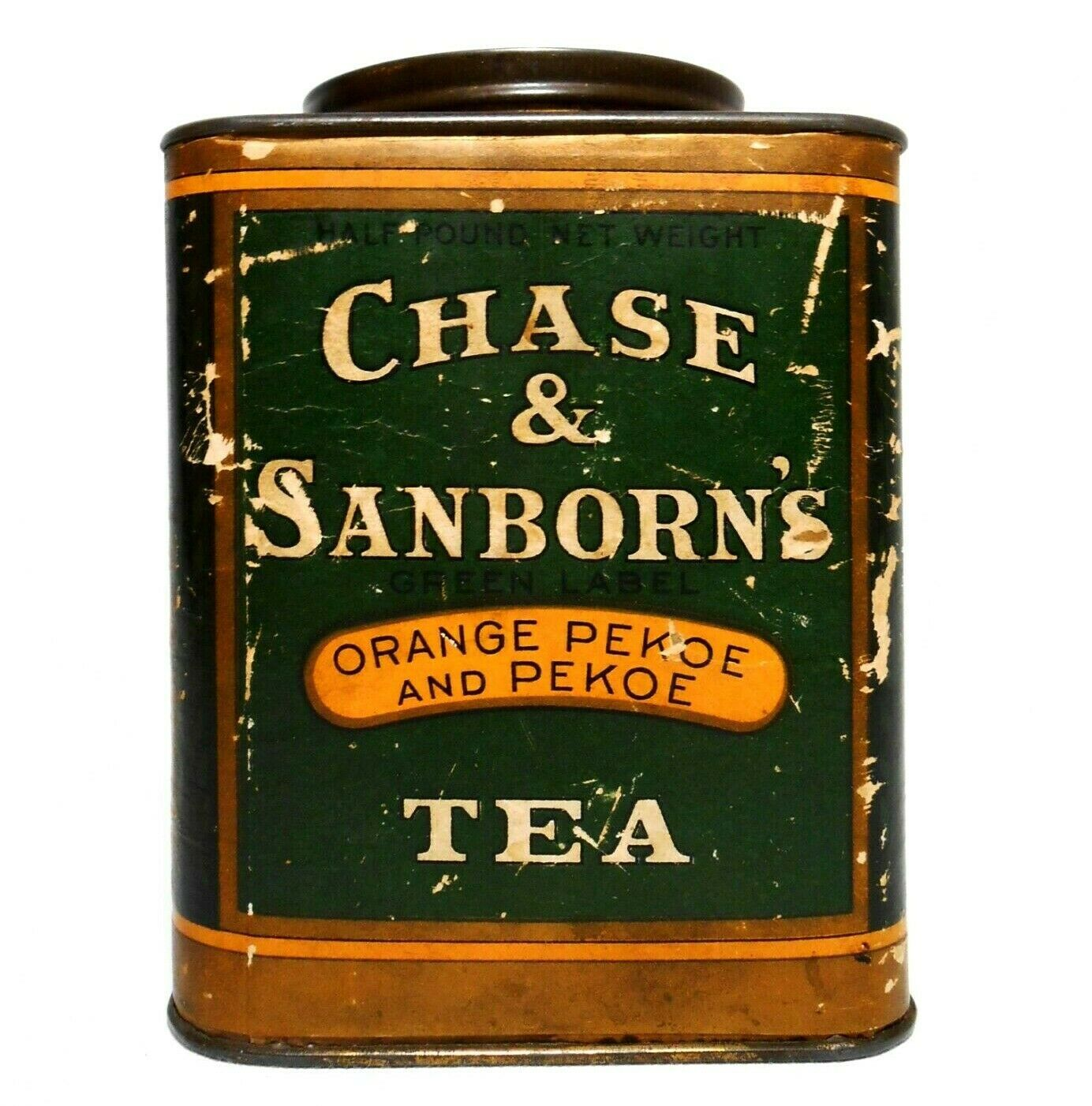 Early 20th C Vint Chase Sanborn S Orange Pekoe Black Tea Tin Can Paper Label 67 50 Orange Pekoe Tea