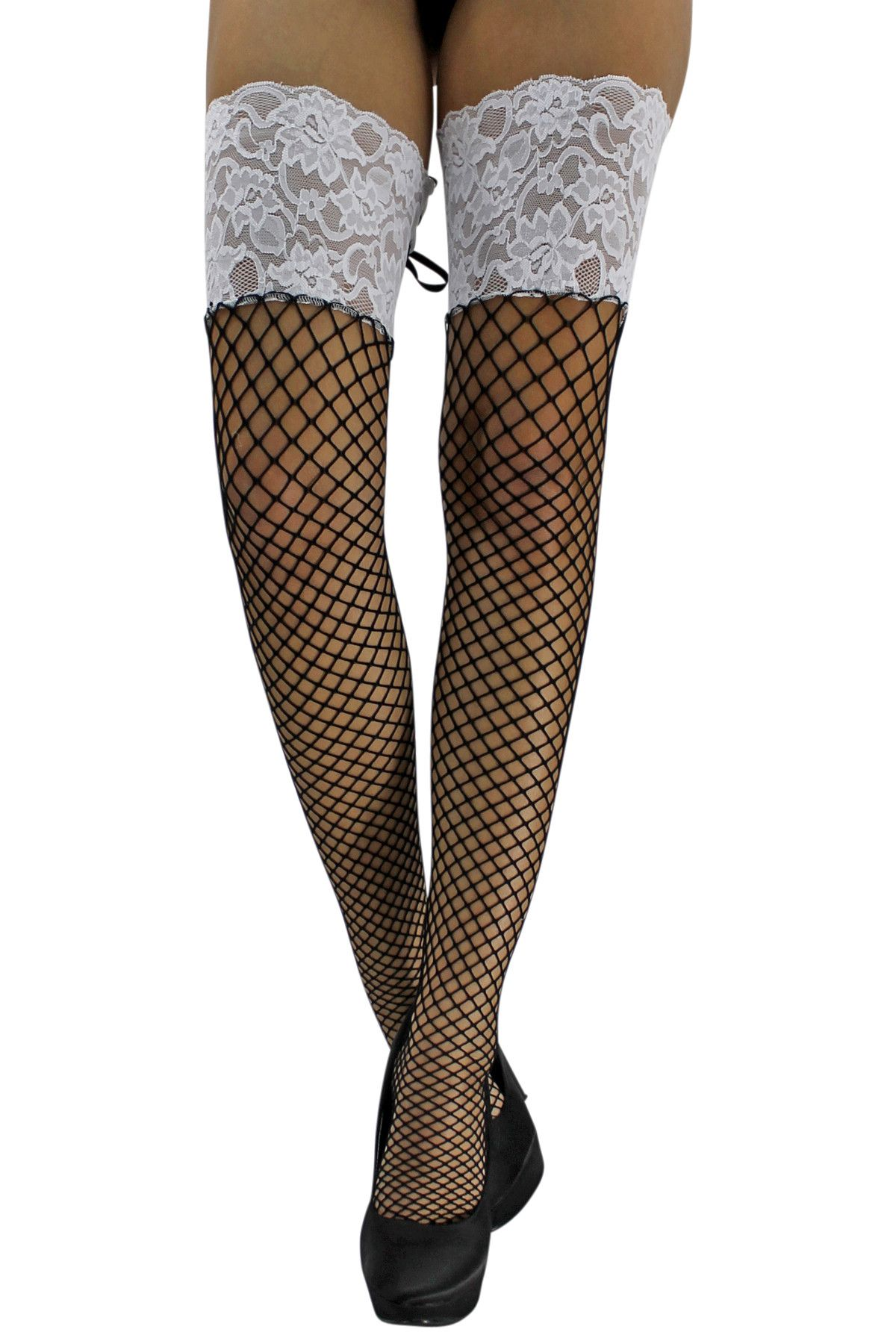 67d623dba5c Black   White Lace Top Thigh High Fishnets With Tie Up