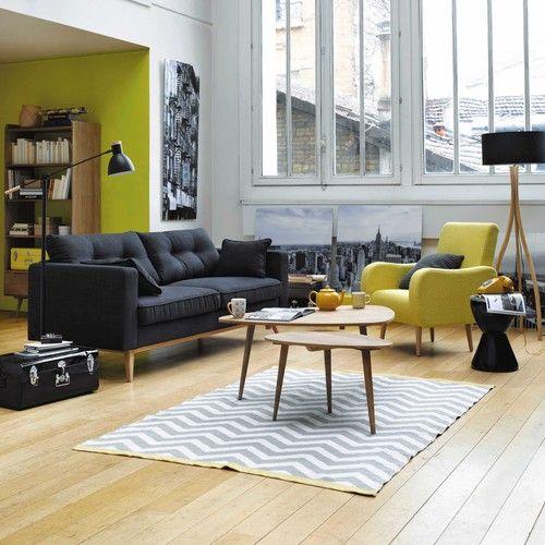 Canapé Places En Tissu Anthracite Brooke Maisons Du Monde - Canapé 3 places pour decoration salon contemporain