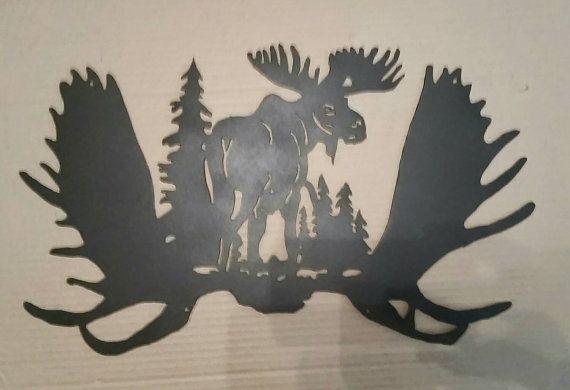 Moose Metal Wall Decor Metal Tree Wall Art Moose Decor Moose Silhouette
