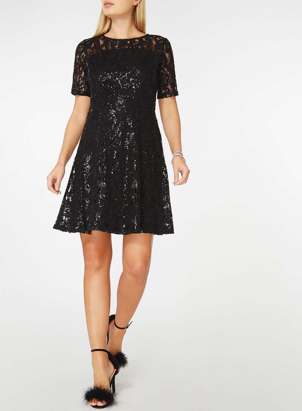 d4bf008b Black Lace Sequin Fit and Flare Dress | You can never have enough ...