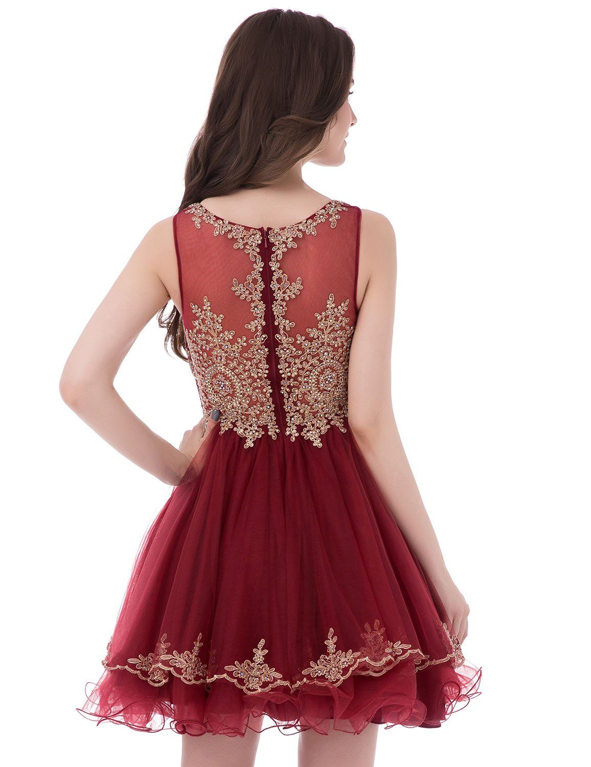 61145a51f Clearbridal Short Sheer Neck Prom Homecoming Dresses 2018 For Juniors A Line  Beaded Lace Sequins Party Dress Burgundy -- See this great product.