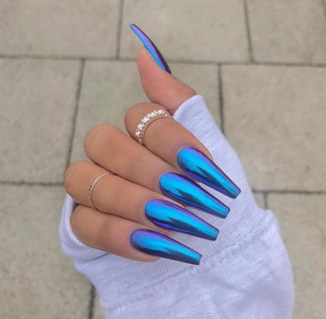 Holographic Blue Coffin Acrylic Nails Holographic Nails Coffin Nails Designs Blue Coffin Nails