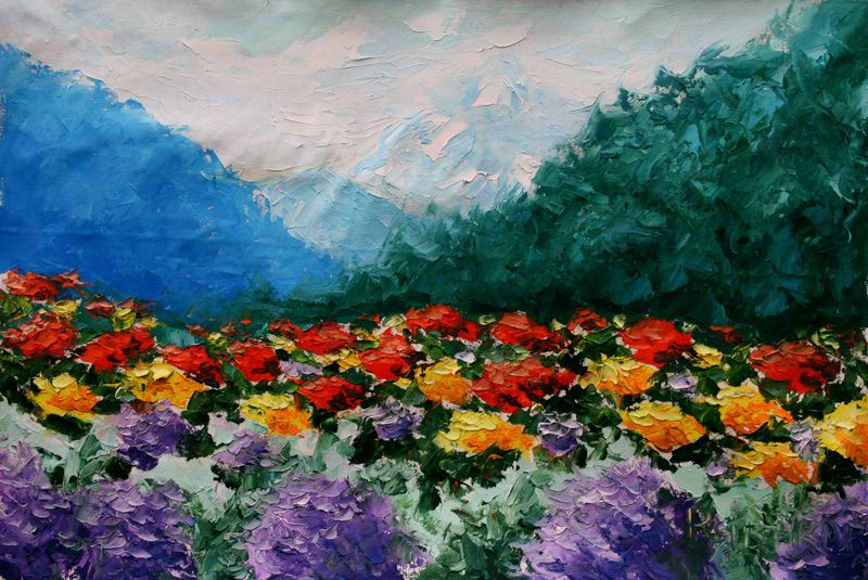 Paisaje de montaña de flores. La pintura