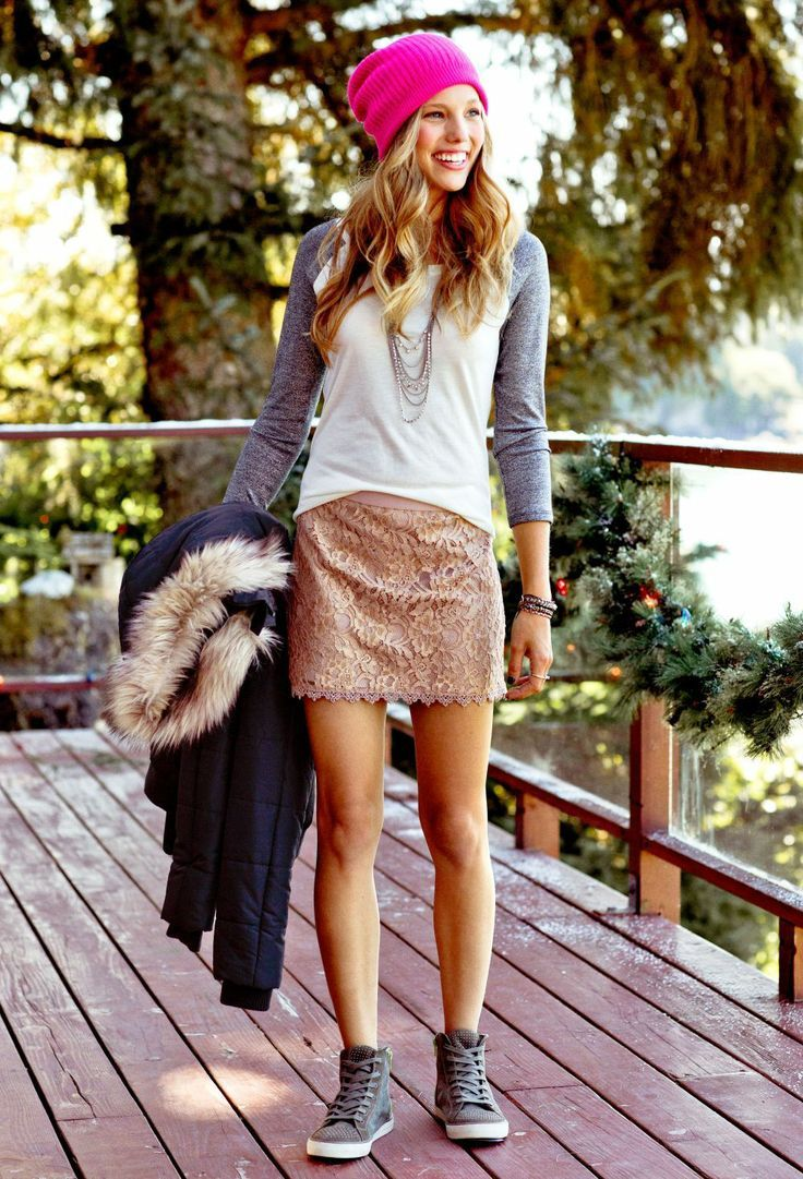 baseball t-shirt, lace mini skirt & studded high tops
