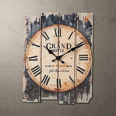 Reloj de pared grand hotel vintage relojes de pared relojes rectangle wall clock rustic - Relojes decorativos pared ...