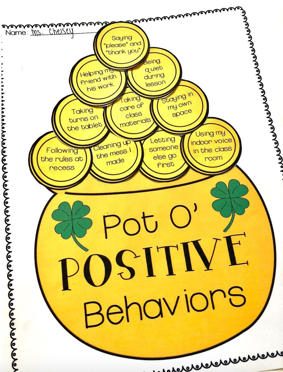 Positive Behavior Activities For St Patrick S Day Sel And