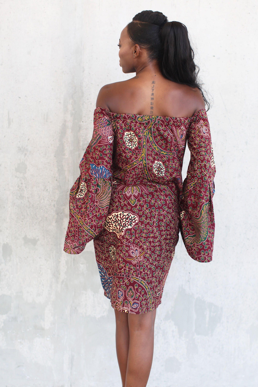 Dashki Fabric African Fashion Ankara Kitenge African: THE JACKIE Dress In Maroon African Prints, African Fashion