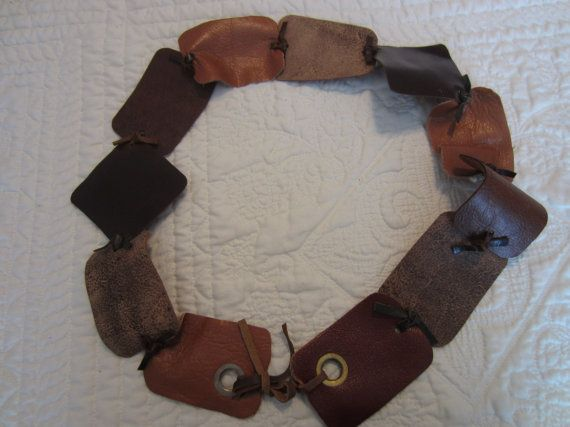 Brown Camel Leather BELT with Grommets by BecomingDesigns on Etsy