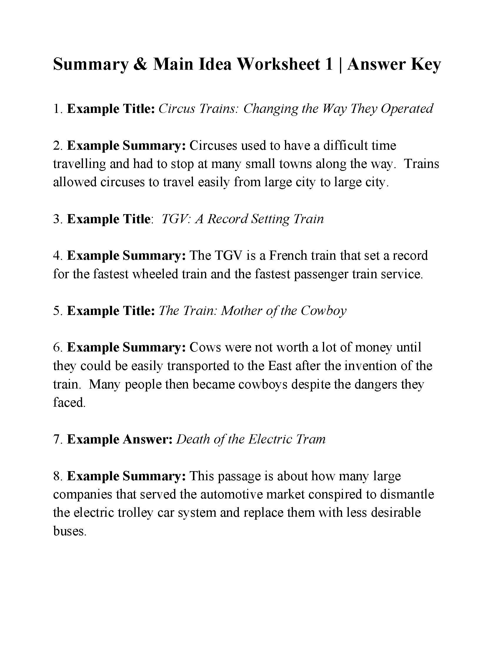 This is the answer key for the Summary and Main Idea Worksheet 1.   Main  idea worksheet [ 2200 x 1700 Pixel ]