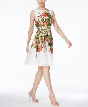 85b1e4df229c Tommy Hilfiger Floral-Print Belted Fit & Flare Dress - White/Green Floral 18