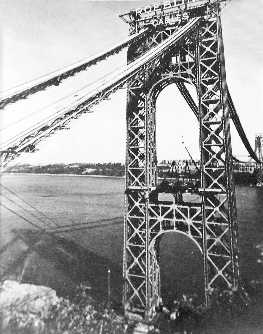 George WashingtonBridge under construction viewed from, cliffs of the Jersey Palisades in Fort Lee.    Opening day for the bridge was October 24, 1931