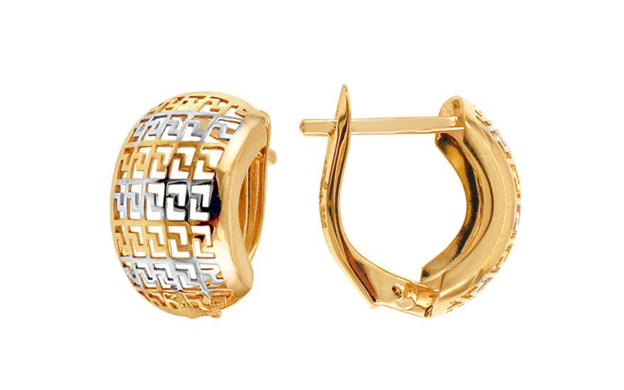Zlaté dvojfarebné náušnice s vyrezávaným vzorom