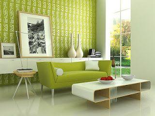 déco du salon : mobilier, papier peint aux tons du blanc et du vert ...