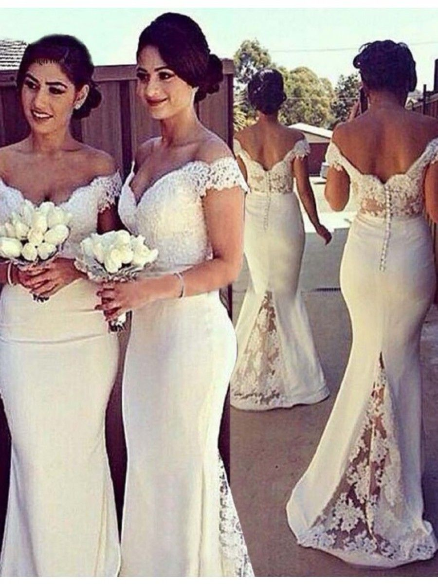 Mermaid off the shoulder short sleeves white bridesmaid dress with
