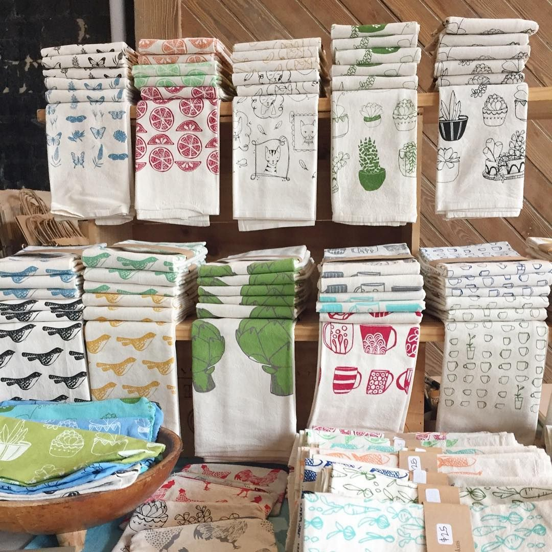 Craft fair display ideas for napkins or tea towels