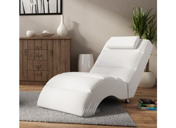 Chaise longue Rovila - Wit. Chaise longue Rovila is een comfortabele ...