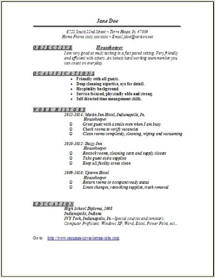 Housekeeper Resume  House Keeper Resume