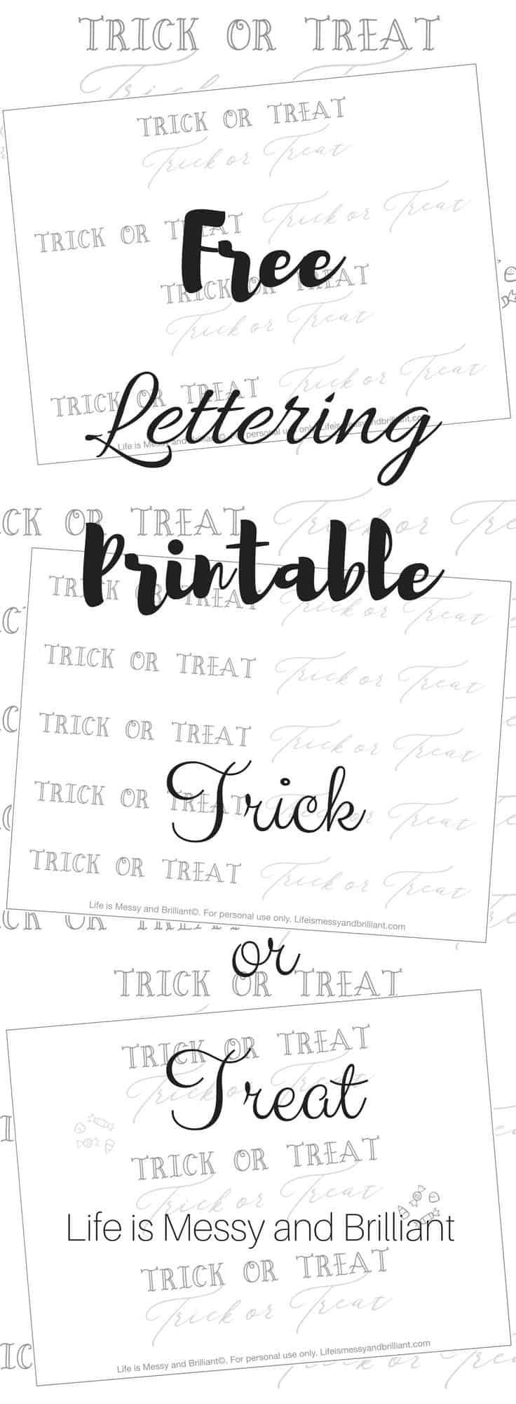 FREE Trick or Treat Hand Lettering Printable - #lettering ...