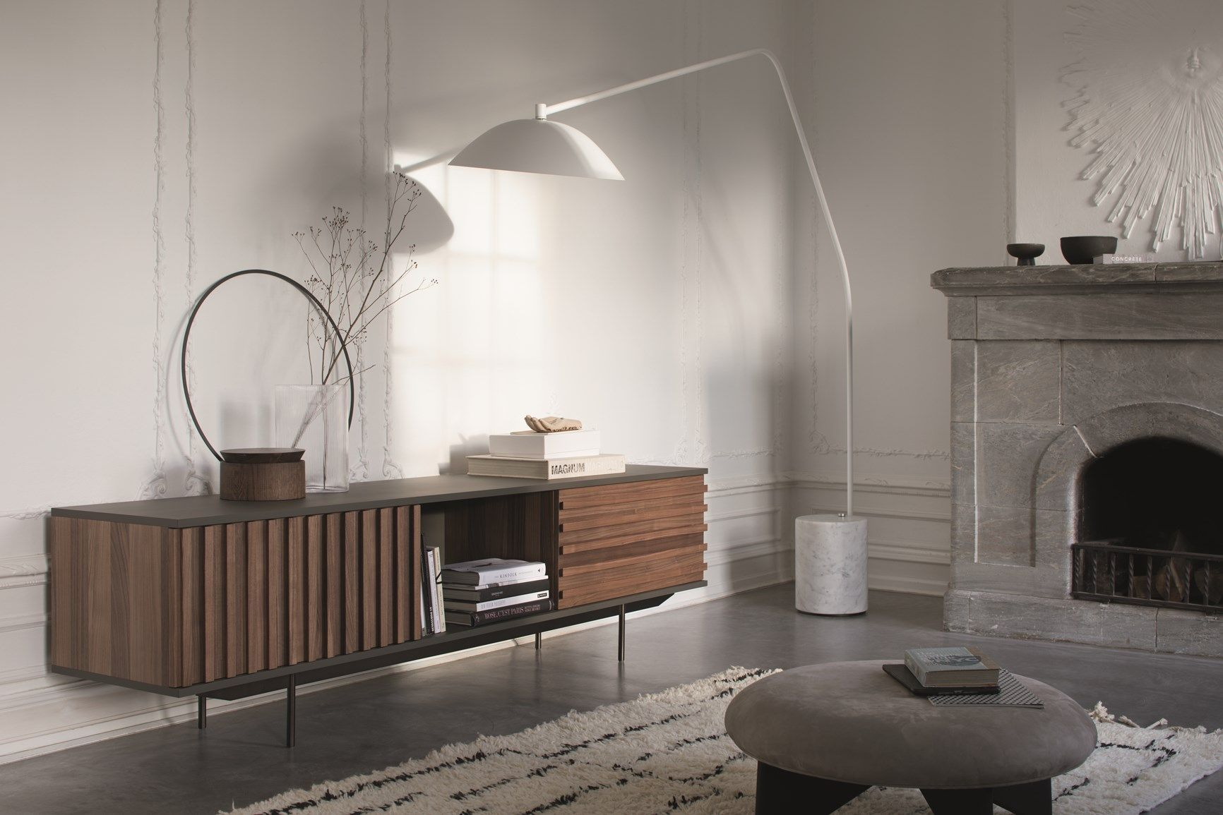 More Materials And Forms In Contrast Sideboard Furniture Retro Furniture Design Living Room Wall Units Sideboard in living room