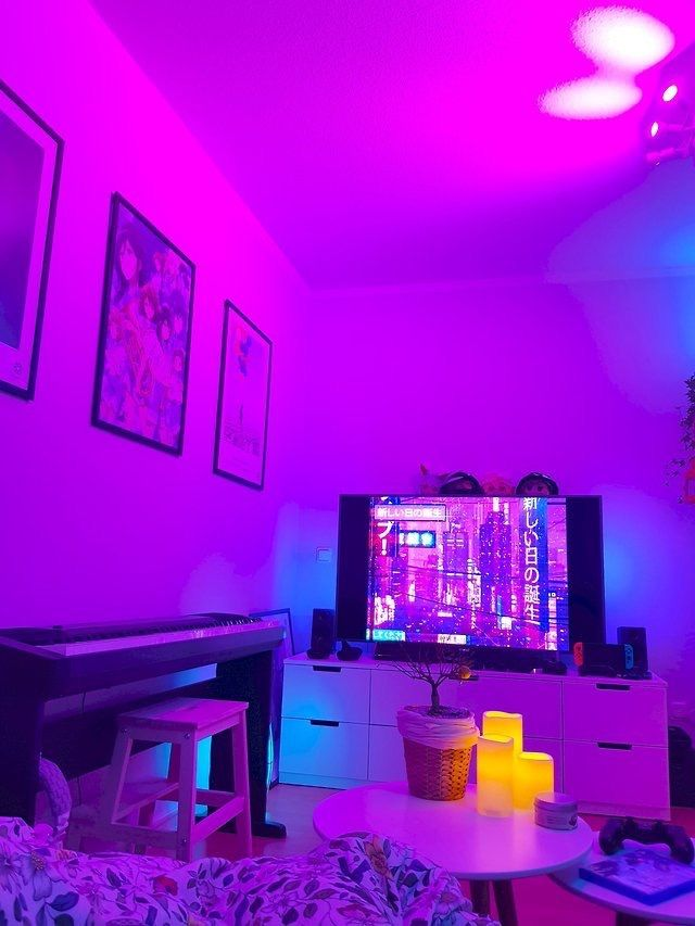 Pin By Rebekah Albaugh On Avery S Dream Room Aesthetic Bedroom Neon Room Neon Bedroom