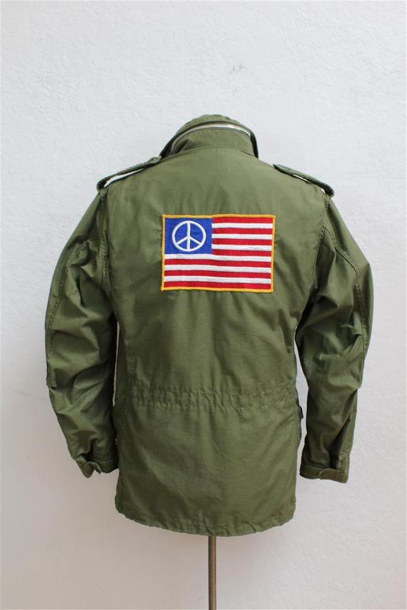 ebfd279fc8484 Rare 1970's Men's Military Jacket / Large American Flag Patch with Peace  Sign / Chest Size 37