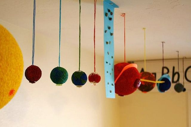 solar system hung from ceiling in school room