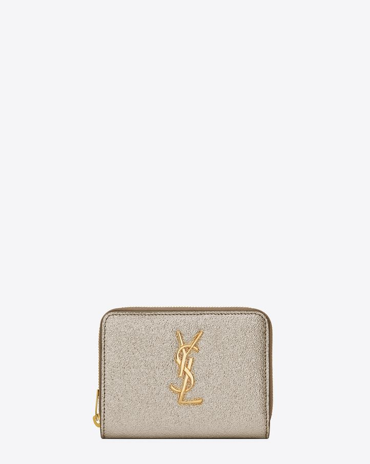 cc5da34dd9ed9 Saint Laurent MONOGRAM SAINT LAURENT Compact Zip Around Wallet In Pale Gold  Grained Metallic Leather