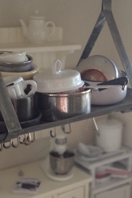 Tiny pots and pans 1:12 scale, Kim Saulter, It's a Miniature Life