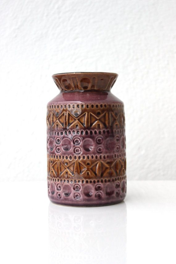Mid Century Small Ceramic Vase Bay Bodo Mans 603 60s Brown Dusty Rose
