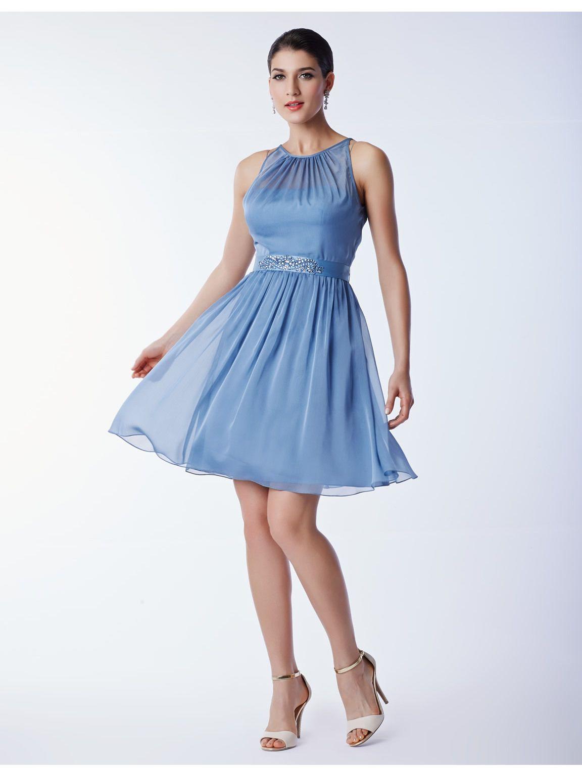 Short iridescent chiffon halter dress with beaded belt zipper back